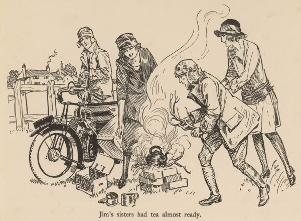 Arriving at a campsite, a pair of motorcyclists are helped to boil a kettle for a cup of tea by some helpful girls