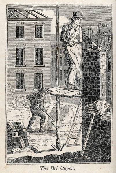 A bricklayer standing on a rather precarious looking scaffold. His assistant mixes mortar behind him; his hod for carrying bricks etc is nearby