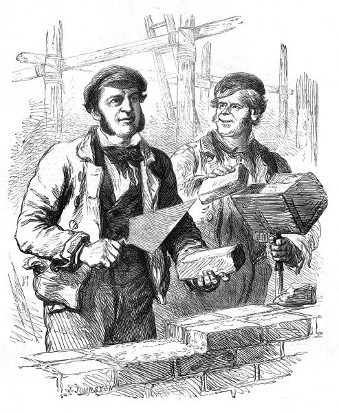 A pair of bricklayers building a wall Date: 1856