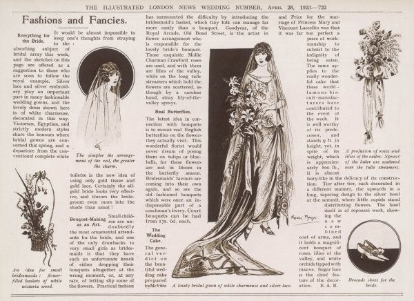 The fashion column of the Illustrated London News in its special Royal Wedding Number, celebrating the marriage of the Duke of York (later King George VI) to Lady Elizabeth Bowes Lyon on 26th April 1923