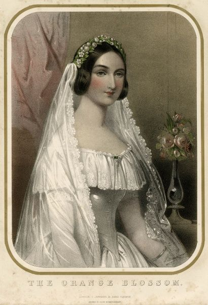 A bride in her wedding dress, wearing the traditional orange blossom on her head Date: circa 1860