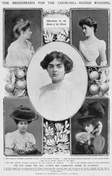 Five ladies who were bridesmaids at the wedding of Winston Churchill and Clementine Hozier on 12th September 1908