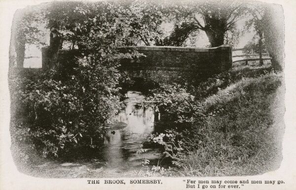 "Bridge over The Brook at Somersby, Lincolnshire, with a quote from Alfred, Lord Tennyson's poem 'The Brook' : ""For men may come and men may go, But I go on for ever."" Date: circa 1909"