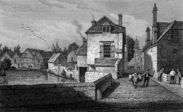 Bridge Street, Oxford, with a view of the river on the left. Date: 1821