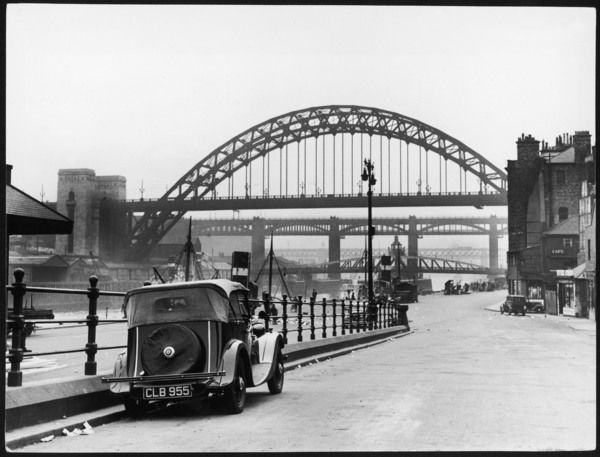 The handsome bridges connecting Gateshead and Newcastle-upon-Tyne. The Great Tyne Bridge arches over Stephenson's High Level Bridge, a double-decker built in 1846
