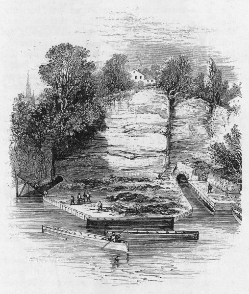 Work in progress at Worsley Basin, the terminus of the canal which James Brindley is building for the duke of Bridgewater, from Worsley to the Mersey via Manchester