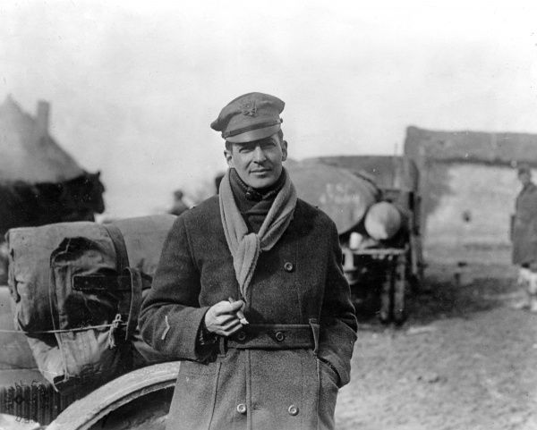 Brigadier General Douglas Macarthur (1880-1964), American army officer of the 84th Brigade, 42nd Division, at St Juvin, Ardennes, northern France, towards the end of the First World War. Date: 11 March 1918
