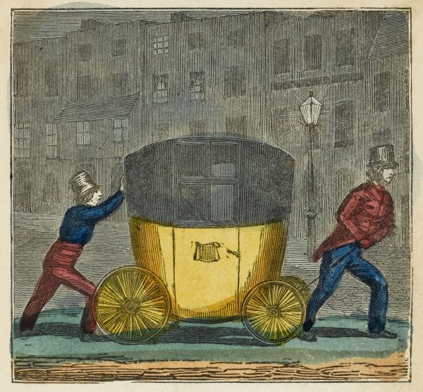 Brighton, Sussex: a carriage for bathers, airtight to prevent the person from catching cold