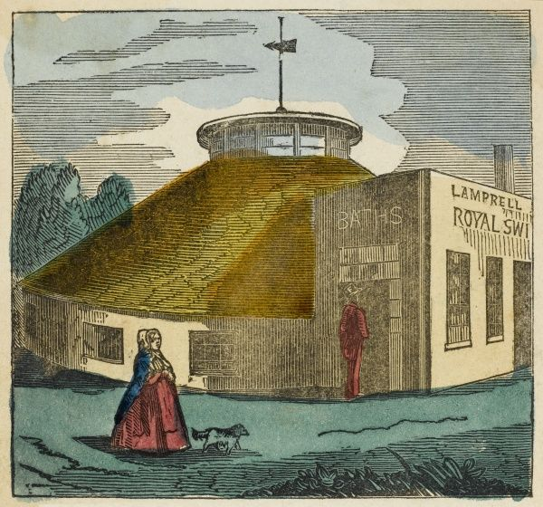 Brighton, Sussex: Lamprell's swimming baths. Situated in East Street, domed roof design, costing some 9000 pounds to build. Long since demolished