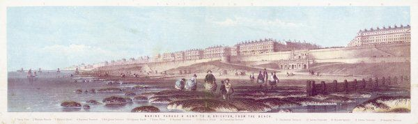 Brighton, Sussex: a panoramic view, showing King's Road and Marine Parade