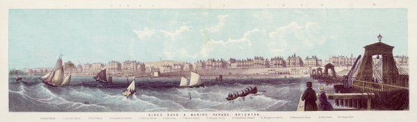 Brighton, Sussex: a panoramic view, showing the Marine Parade and Kemp Town, from the beach