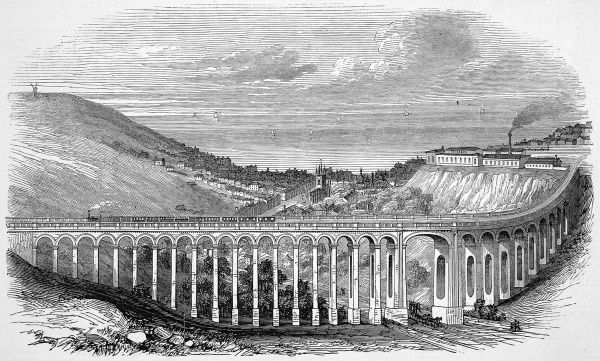 The Brighton, Lewes and Hastings Railway opened to Lewes. Train crossing the Brighton viaduct across the Preston Road. The first stone was laid by W. Nash, the chairman of Midland Railway in 1845