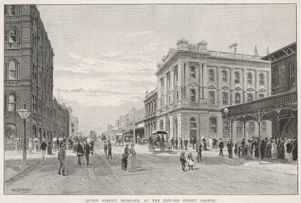 Queen Street, Brisbane, at the Edward Street corner, with several carriages and, in the distance, a tram
