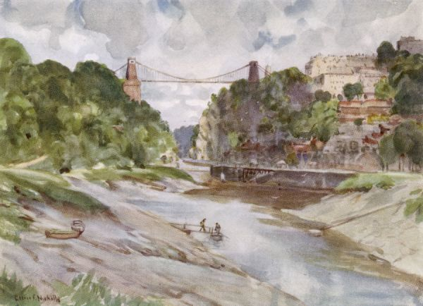Bristol: the Avon Gorge and Clifton suspension bridge. Illustration by GF Nicholls