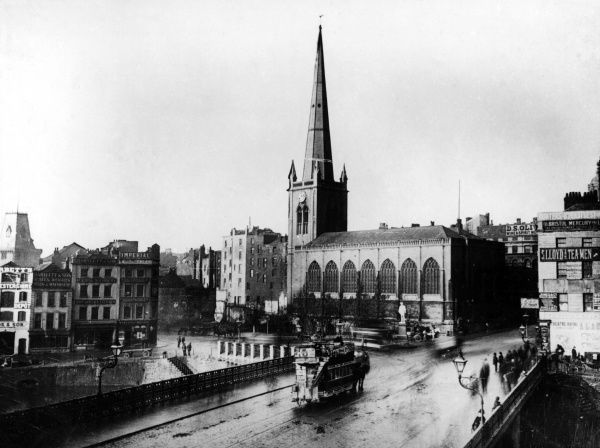St Nicholas's church, Bristol, with a horse-tram in the foreground Date: circa 1888