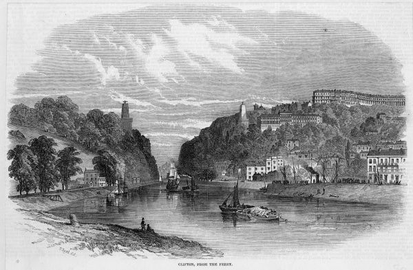 The Avon at Clifton during the construction of the Clifton Suspension Bridge, viewed from the ferry
