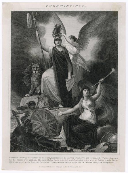 Britannia depicted with various devices emblematic of Britain's greatness