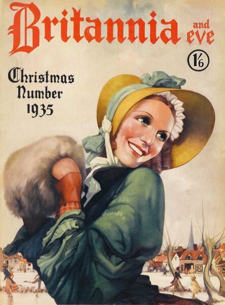 Front cover illustration featuring a woman dressed in a green winter jacket and straw bonnet, her hands safely tucked inside a muff. Ice-skaters frolic in the wintry scene behind her