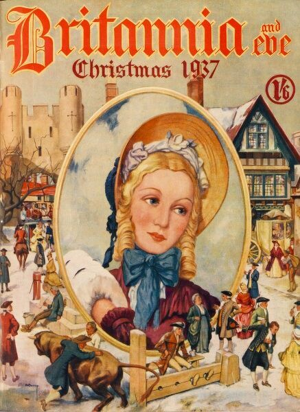 Front cover illustration showing an old-fashioned wintry scene, with a central oval portrait of a bonneted woman, with golden curls, her hands safely tucked inside a muff