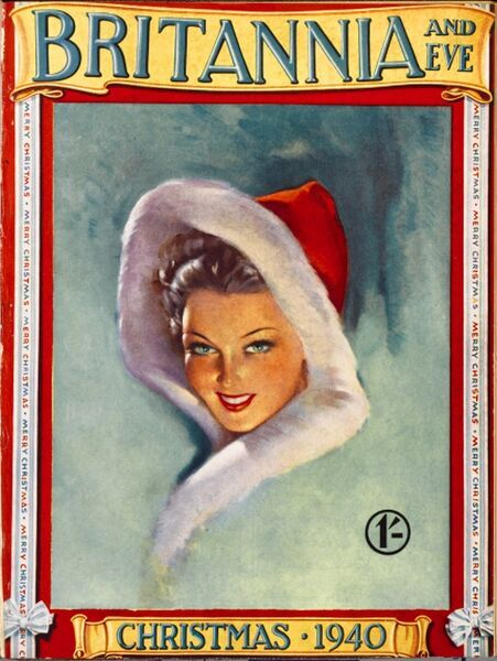 Front cover illustration featuring a beautiful 1940s woman wrapped up in a Santa robe, her alluring smile peeping out from within the hood