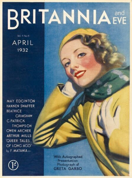 Front cover of Britannia and Eve magazine featuring a fresh-faced breezy looking woman in a yellow outfit finished off with red lipstick and a green neck scarf