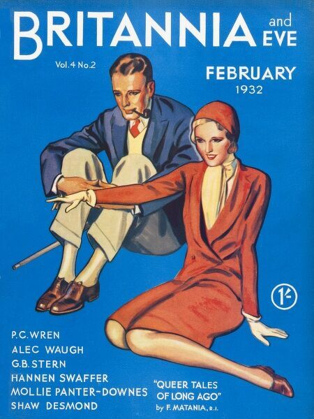 Front cover of Britannia and Eve magazine featuring a typical 1930s couple seated on the ground, looking like spectators at a sporting event. She is in a chic red suit with matching hat. He is dapper with walking cane and pipe