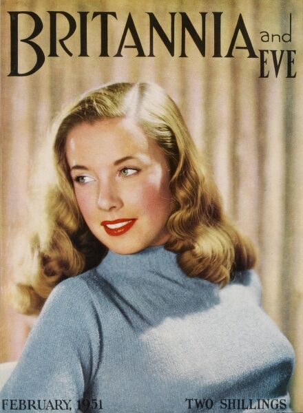 Front cover of Britannia and Eve magazine featuring a blonde 'sweater girl' model with an impressive torpedo bust and wavy Veronica Lake hairstyle