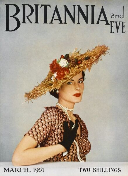 Front cover of Britannia and Eve magazine featuring an elegant 1950s woman wearing a brown patterned dress, a string of pearls and an elaborate straw raffia hat trimmed with flowers