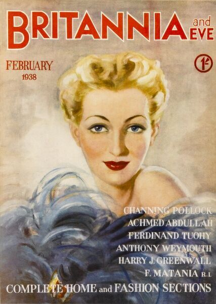 Front cover illustration featuring a glamorous blonde woman pictured amid a ruffle of feathers
