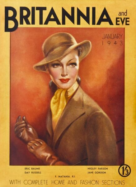 Front cover depicting a sophisticated woman in a brown coat with matching hat and gloves. A yellow silk scarf at her throat completes the outfit