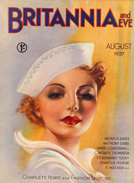Front cover illustration featuring a heavily made-up woman, wearing a nautical style hat and neck-tie, gazing seductively out towards the viewer with huge red lips