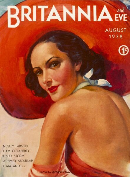 Front cover illustration featuring a beautiful brunette woman wearing a huge red hat and matching swimsuit