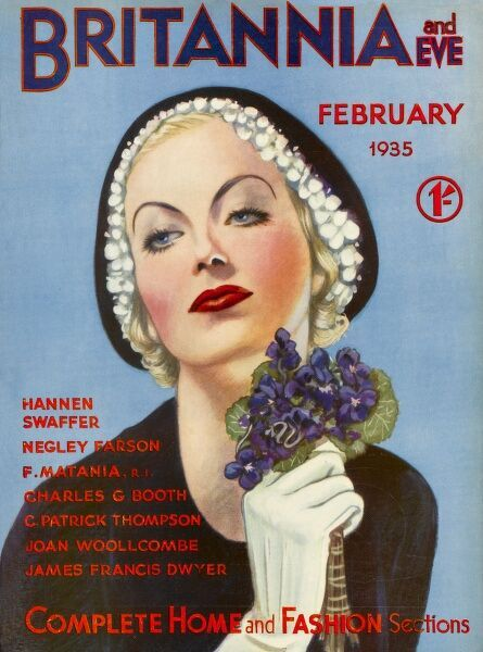 Front cover illustration featuring a glamorous 1930s woman, wearing a dark collarless jacket, with white gloves and a dark hat with white floral trim. She holds a bouquet of purple pansies