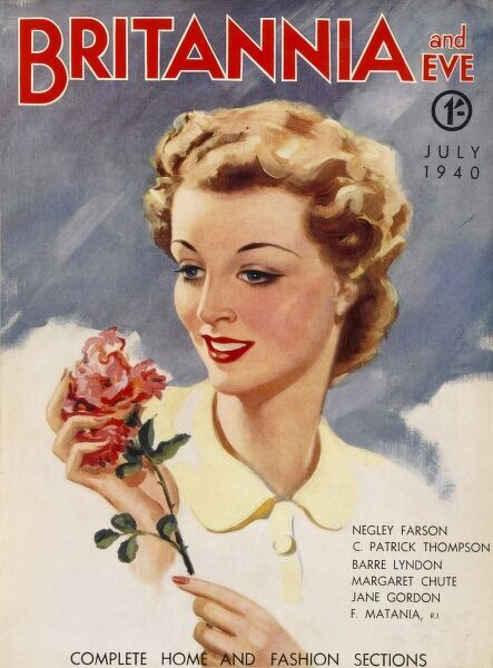 Front cover illustration featuring an attractive young lady with wavy blonde hair, smiling at a red rose given to her by her sweetheart