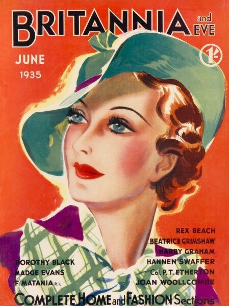 Front cover illustration featuring a glamorous 1930s woman attired in a green hat with red ribbon, and a green and white checked scarf