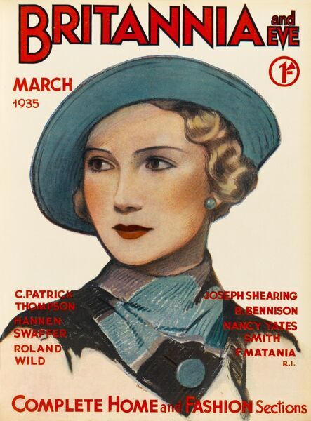 Front cover illustration featuring a 1930s woman attired in a blue hat, buttoned scarf and matching blue stud earrings