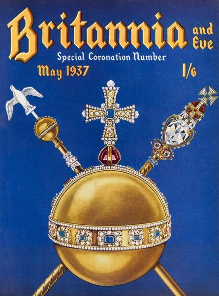 Special coronation number of Britannia and Eve, featuring an extravagant gold and jewel-clad orb and sceptre, celebrating the coronation of King George Vi on the 12th May 1937