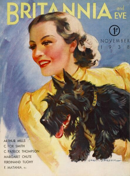 Front cover illustration featuring a 1930s woman wearing a yellow puffed-shoulder blouse; she holds a black Scottish terrier who wears a matching yellow collar