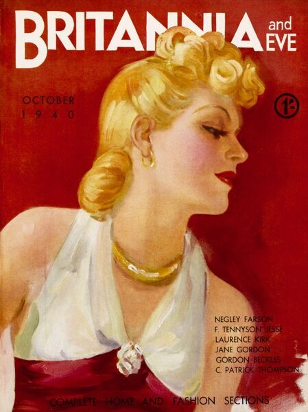 Front cover illustration featuring a 1940s blonde beauty, wearing a halter-neck red and white top,along with gold hoop earrings, and necklace