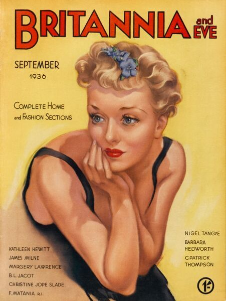 Front cover illustration featuring a young woman with blue flowers in her curly blonde locks, looking contemplative