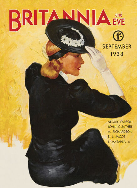 Front cover illustration featuring a glamorous 1930s lady wearing a tailored skirt suit and floral hat