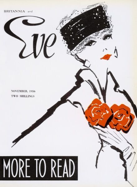 Elegant front cover illustration featuring a a woman in a sack coat and pillbox hat clutching two blooms to her chest