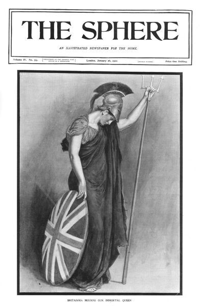 Front-cover of The Sphere showing Britannia mourning the loss of Queen Victoria who died on the 22nd January 1901. Date: 1901
