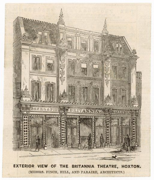 Famous music hall in Hoxton, London. Opened in 1858, built on the site of the Britannia Saloon, opened 1841. Converted to a cinema in 1923 and destroyed by bombing in 1940