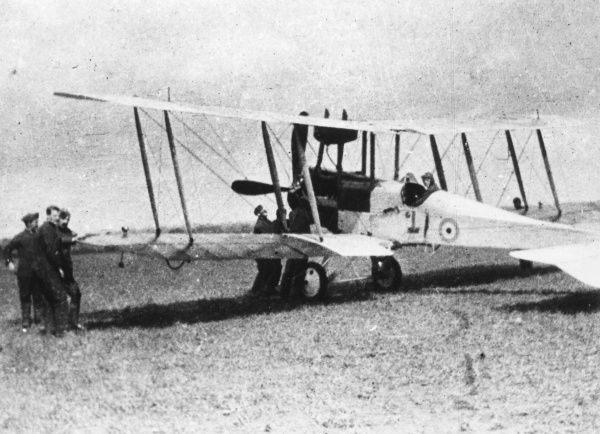A British Royal Aircraft Factory BE 12 single-seater biplane on an airfield, used by the Royal Flying Corps during the First World War. It had a 150hp RAF 4a engine. Date: 1915-1918