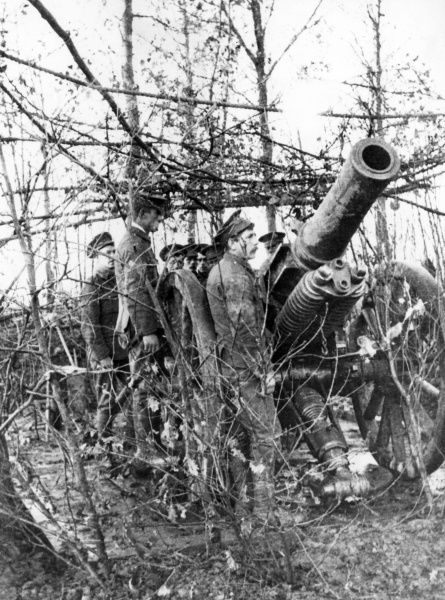 A British 6 inch (30 cwt) Howitzer of the 6th Siege Battery RGA (Royal Garrison Artillery) in action position near Hill 63, Ploegsteert Wood, Flanders, during the First World War. Foliage is used as a camouflage screen against observation from aircraft