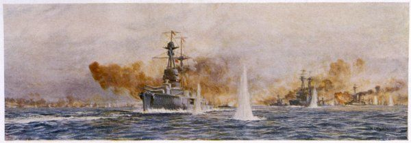 British warships 'Royal Oak', 'Acasta', 'Benbow', Superb' and 'Canada' in action at the Battle of Jutland