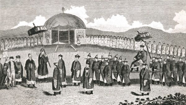 Meeting between Lord Macartney, British Ambassador, and the Chinese Emperor Chien Lung. Date: 14 September 1793