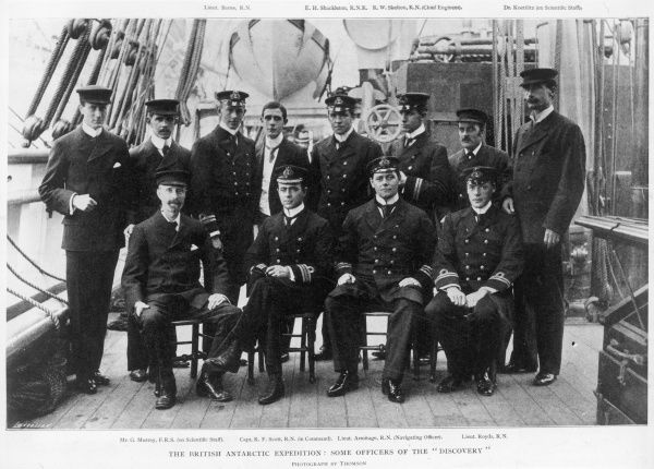 Officers of the British Antarctic Expedition on board the Discovery. Front row, second from left is Captain Robert Falcon Scott and back row, fourth from right is Ernest Shackleton