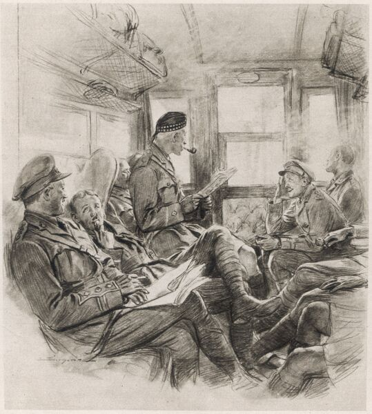 A French artist's impression of a group of British army officers travelling by rail to the Western front during the First World War